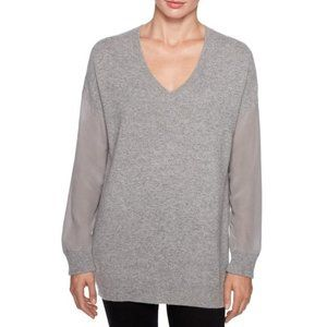 Magaschoni Long Sleeve Silk Pullover Cashmere Gray